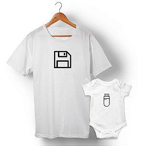 Kit Disquete Interface Branco Camiseta Unissex e Body Infantil