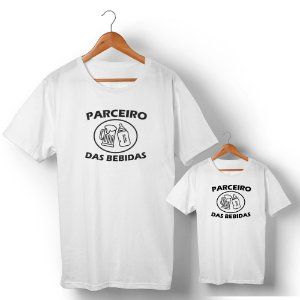 Kit Parceiro de Bebidas Camiseta Branco Camiseta Unissex e Camisetinha Infantil