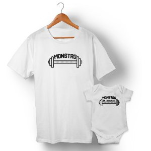 Kit Monstro e Monstro em Treinamento Branco Camiseta Unissex e Body Infantil
