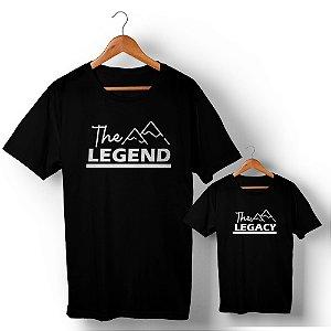Kit Legend Legacy Montanha Preto Camiseta Unissex e Camisetinha Infantil