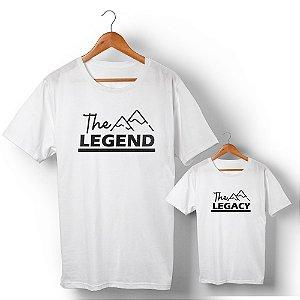 Kit Legend Legacy Montanha Branco Camiseta Unissex e Camisetinha Infantil