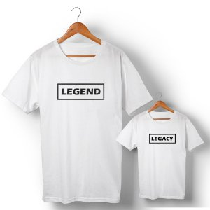 Kit Legend Legacy Branco Camiseta Unissex e Camisetinha Infantil