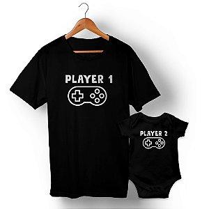 Kit Player 1 Player 2 Preto Camiseta Unissex e Body Infantil