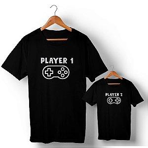 Kit Player 1 Player 2 Preto Camiseta Unissex e Camisetinha Infantil