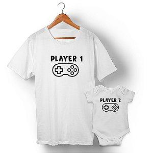 Kit Player 1 Player 2 Branco Camiseta Unissex e Body Infantil