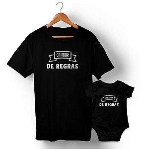 Kit Criador e Quebrador de Regras Preto Camiseta Unissex e Body Infantil