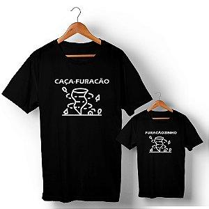 Kit Caça-Furacão Furacãozinho Preto Camiseta Unissex e Camisetinha Infantil