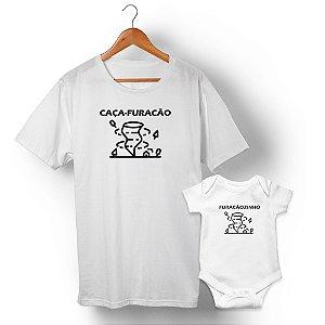 Kit Caça-Furacão Furacãozinho Branco Camiseta Unissex e Body Infantil