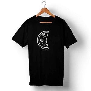 Camiseta Unissex Pizza Dois Pedaços Preta