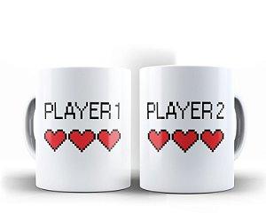 Par de Canecas Player 1 Player 2 Branca