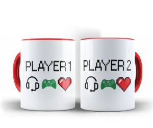 Par de Canecas Player 1 Player 2 Alça Vermelha