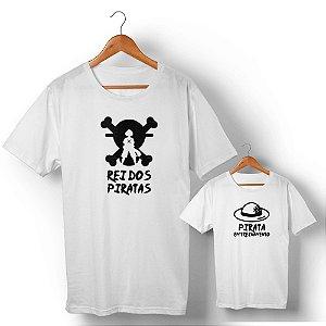 Kit Rei dos Piratas e Pirata em Treinamento Branco Camiseta Unissex e Camisetinha Infantil