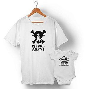 Kit Rei dos Piratas e Pirata em Treinamento Branco Camiseta Unissex e Body Infantil