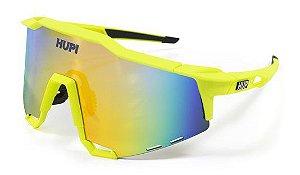 Óculos de Sol HUPI Stelvio Amarelo Neon e Preto - Lente Dourado Espelhado