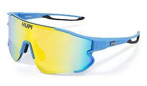 Óculos de Sol HUPI Bornio Azul e Preto -Lente Dourado Espelhado