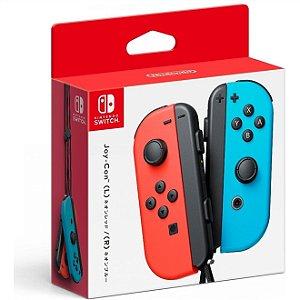 Switch Controle Joy-Con Direito e Esquerdo Neon Red e Neon Blue PAR