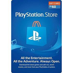 Cartão PSN PlayStation Network Brasil de R$ 60 Reais