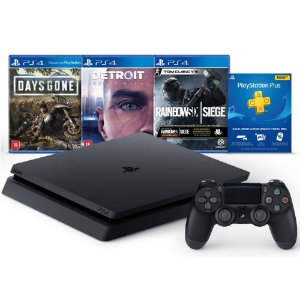 PlayStation 4 Slim 1 TB Days Gone + Detroit Become Human + Tom Clancy's Rainbow Six + 3 Meses PSN PLUS