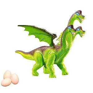 Boneco Dinossauro 3 Cabeças - DM Toys