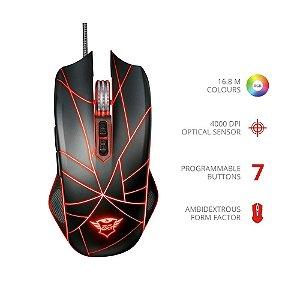 Mouse Gamer Trust Ture RGB GXT 160 Ambidestro 4000DPI 7 botões Função Macro