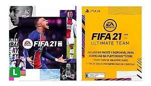 PS4 Fifa 21 Midia Digital + 1 Pacote Jogadores Ouro Raro + 3 Idolos Por Emprestimo + 14 Dias De PSN Plus