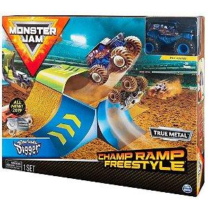 Playset com Rampa e Veículo Escala 1:64 Monster Jam Champ Ramp Freestyle Sunny