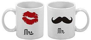 Caneca Especial 300ml Mrs. e  Mr. - 2 unidades