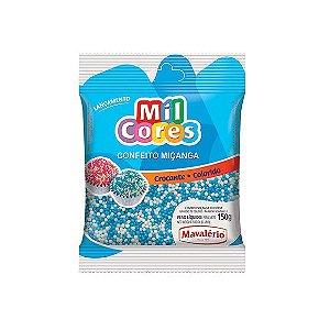 Confeito Miçanga Branca e Azul Nº 0 Mil Cores - 150gr