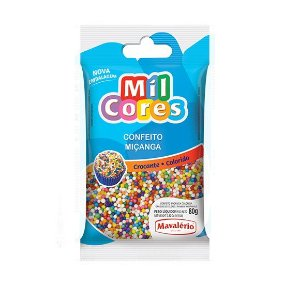Confeito Miçanga Colorida Nº 0 Mil Cores - 80gr