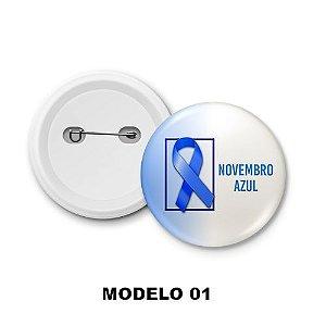 Boton de Campanha Novembro Azul - 15 Unidades