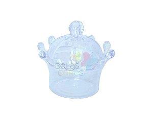 Coroa Acrílica para Lembrancinha - Cor Cristal/Transparente - Kit c/ 10 unidades