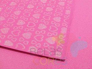Folha de EVA 40x60cm - Estampado Glitter Corações - 5 unidades