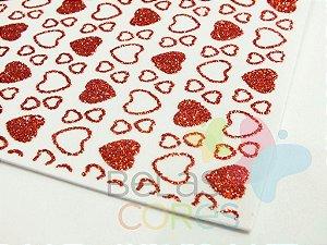 Folha de EVA 40x60cm - Estampado Glitter Love - 5 unidades