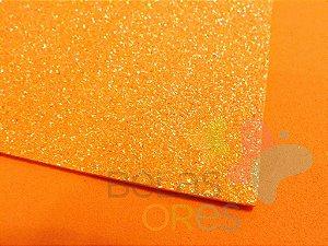 Folha de EVA 40x60cm - Glitter Neon Laranja - 5 unidades