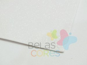 Folha de EVA 40x60cm - Glitter Branco - 5 unidades