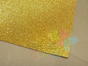 Folha de EVA 40x60cm - Glitter Ouro - 5 unidades
