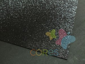 Folha de EVA 40x60cm - Glitter Preto - 5 unidades