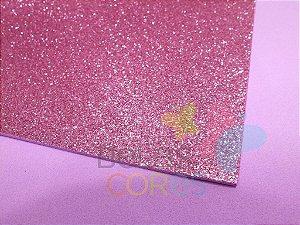 Folha de EVA 40x60cm - Glitter Rosa Claro - 5 unidades
