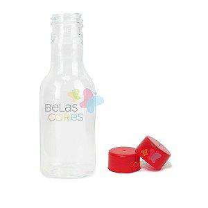 Garrafinhas Plásticas 50ml - Pet - Tampa Plástica Vermelha - Kit c/ 50