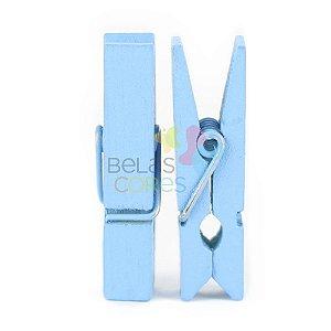 Mini Prendedor / Pregador de Madeira 35mm Cor Azul - Kit c/ 50 unidades
