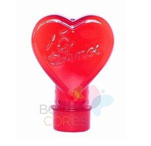 Tubete Pet Coração Vermelho 15 Anos 100 ml Tampa Vermelha - 10 unidades