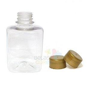 Frasco Quadrado 250 ml Tampa Dourada - 10 unidades