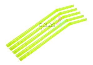Canudo Flexível Neon Amarelo - 50 unidades