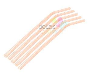 Canudo Flexível Neon Laranja - 50 unidades