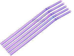 Canudo Flexível Neon Lilás - 150 unidades