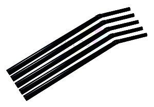 Canudo Flexível Neon Preto - 150 unidades