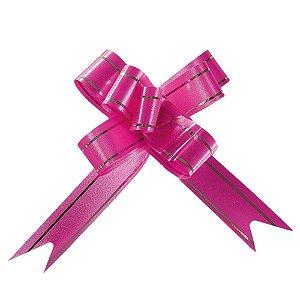 Laço Fácil Pronto Pink com Prata - 10 unidades