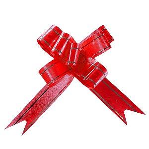 Laço Fácil Pronto Vermelho com Prata - 10 unidades