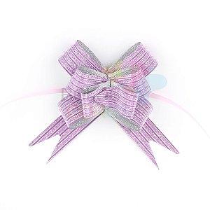 Laço Fácil Pronto Glitter Lilás Listrado - 50 unidades