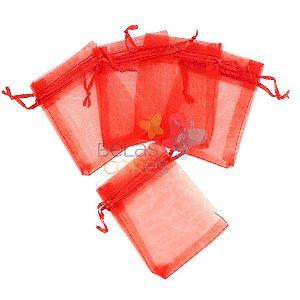 Saquinho de Organza 7x9 cm Vermelho - 50 unidades